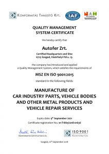 Autofer ISO9001